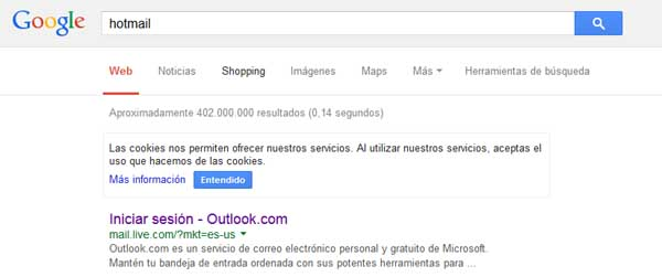 hotmail en el google
