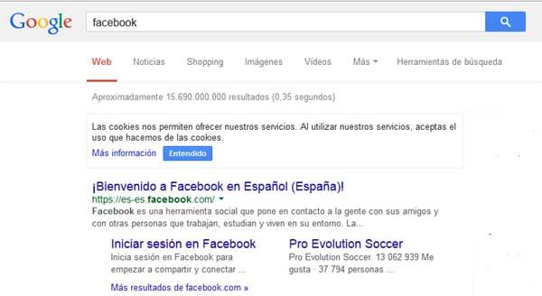 facebook en el buscador
