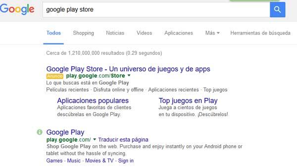 Búsqueda de Google play store en el buscador Google.