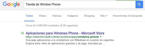 Búsqueda de la tienda de windows phone en el buscador de Google.