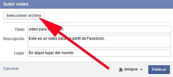 seleccionar video para facebook