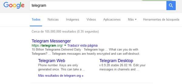 telegram en el buscador