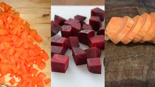 zanahoria, remolacha y camote