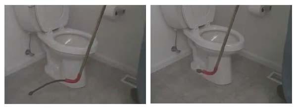 destapar wc con desatascadora de barrena