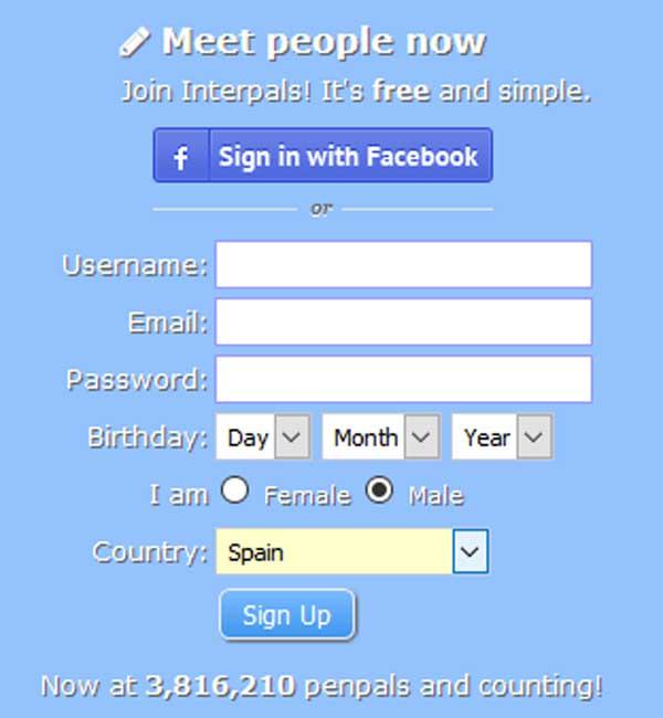 crear perfil en interpals