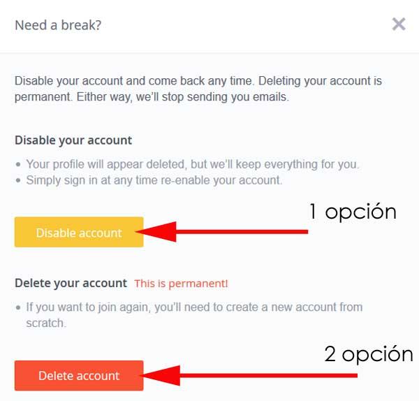cancelar perfil de okCupid