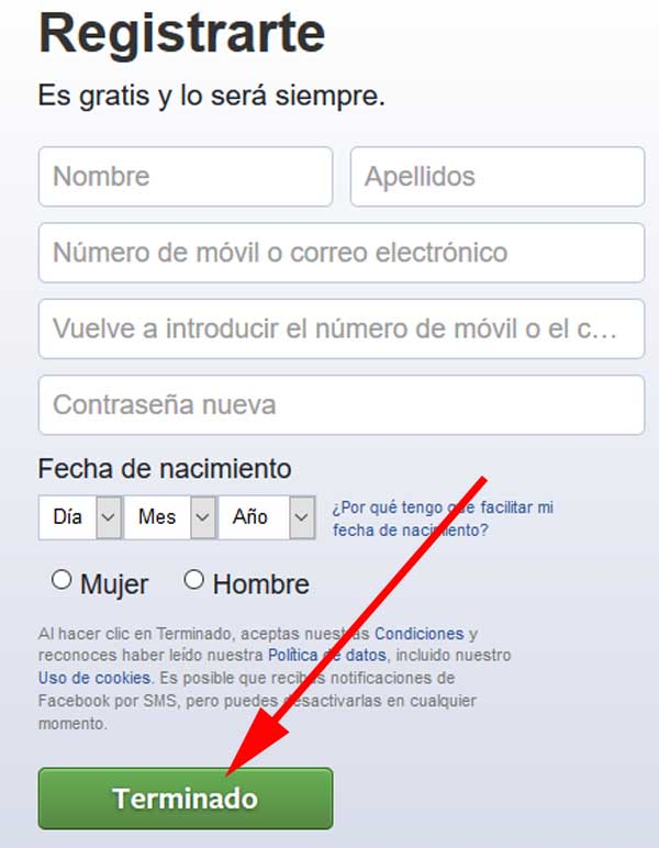 Crear perfil de Facebook