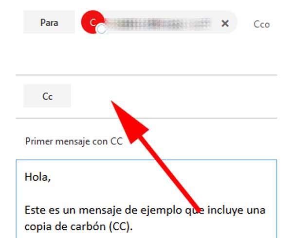 Mensaje con copia en un correo