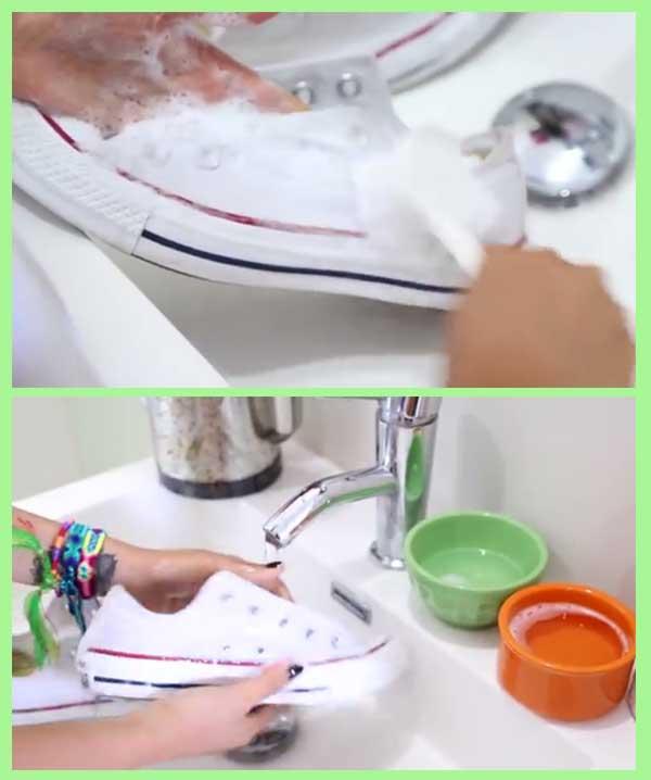 Lavado de zapatillas amarillentas