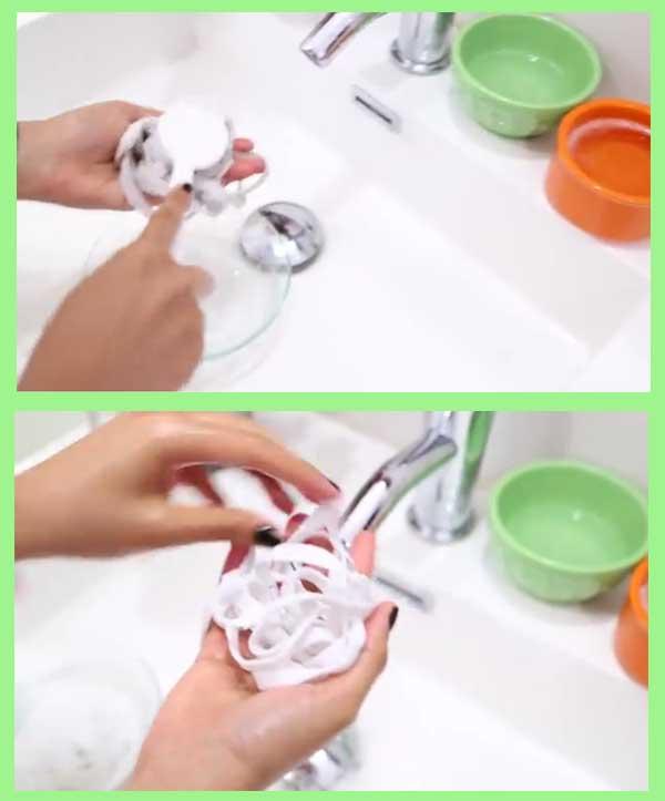 lavado de cintas de zapatillas