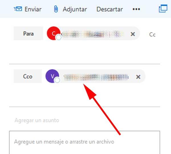 Agregar CCO a un mensaje de correo