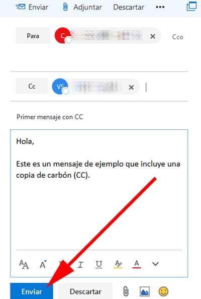 Mensaje en el correo electrónico con copia