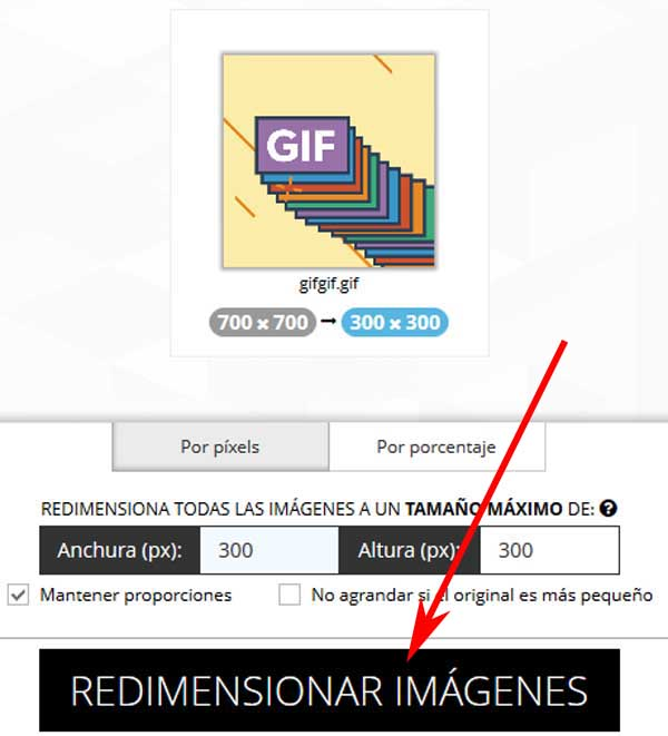 Cambiar tamaño de GIF