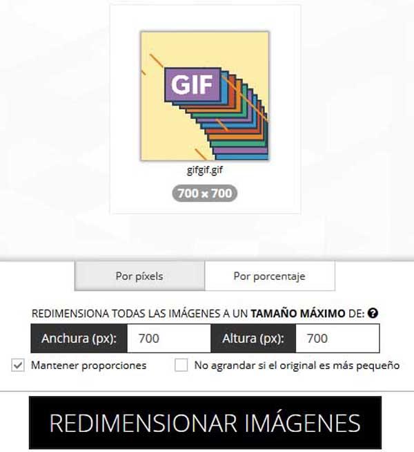 Cómo cambiar e tamaño de un GIF