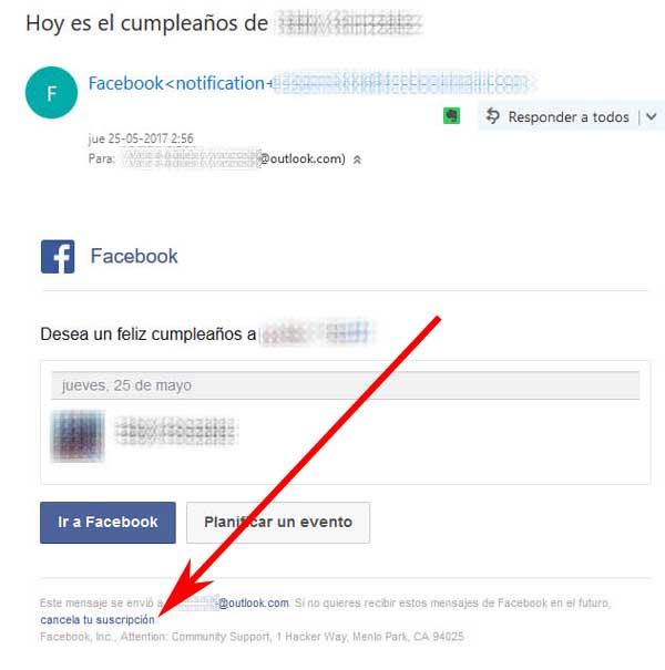 Cómo dejar de recibir mensajes de Facebook en mi correo