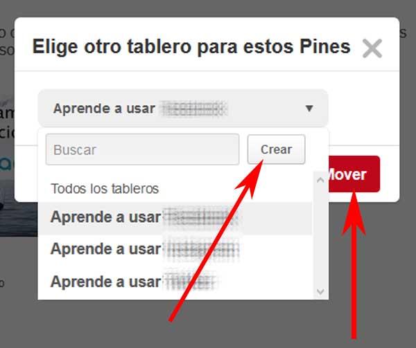 Mover fotos en Pinterest