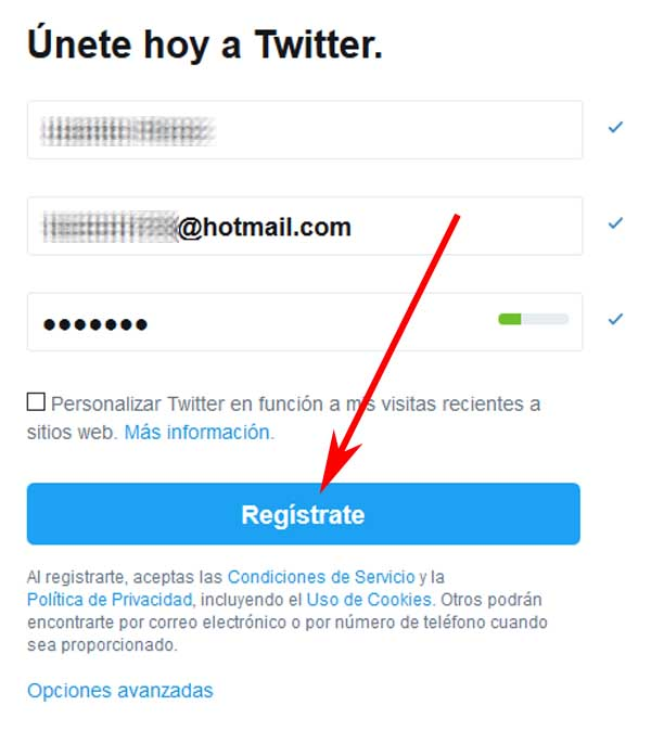 Registrarse en Twitter por primera vez