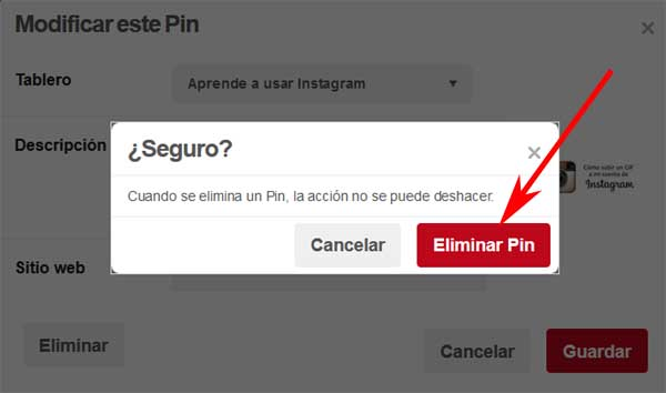 Cómo eliminar fotos de Pinterest
