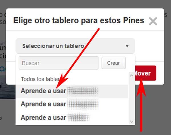 Mover fotos en Pinterest.