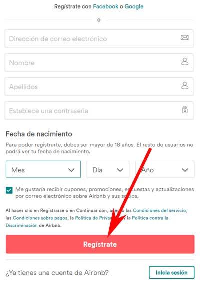 Registrarse en Airbnb