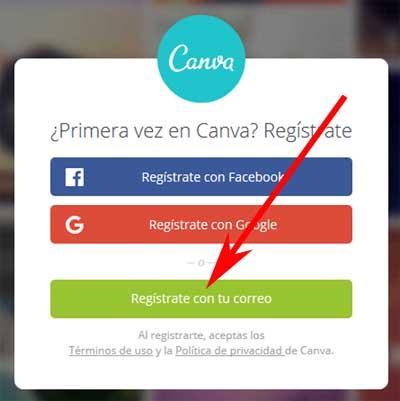 Crear una cuenta en Canva