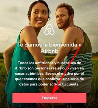 Crear cuenta en Airbnb
