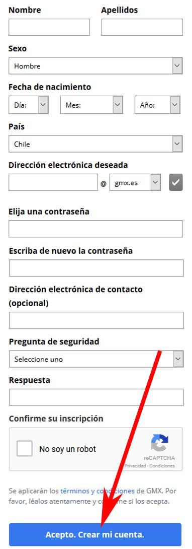 Abrir una cuenta de correo GMX
