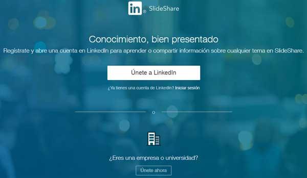Registrarse en SlideShare