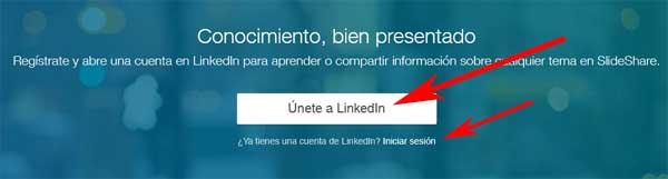 Crear una cuenta en SlideShare con una cuenta de LinkedIn