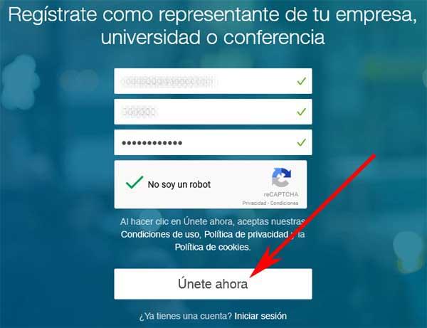 Forma de registrarse enSlideShare sin crear una cuenta en LinkedIn