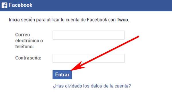 Registrarse en Twoo con Facebook