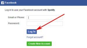 Registrarse en Spotify con cuenta de Facebook