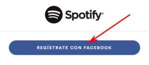 Registrarse en Spotify con Facebook