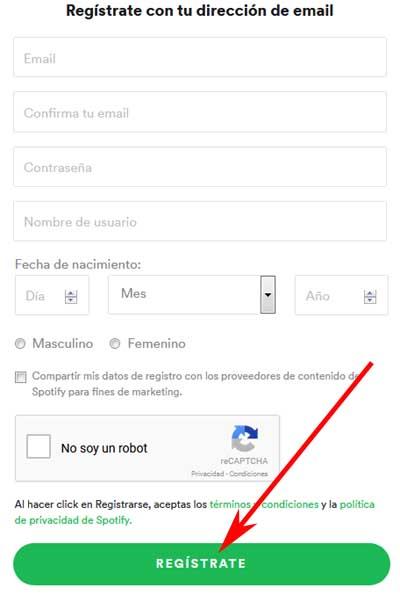 Registrarse en Spotify sin Facebook