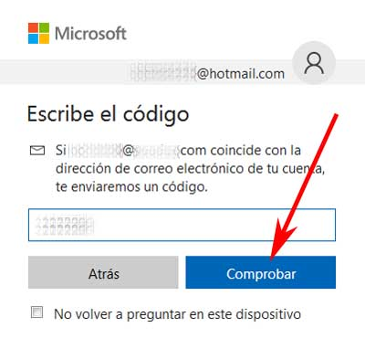 Verificar identidad en Hotmail