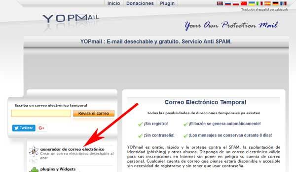 Crear correo en YOPmail