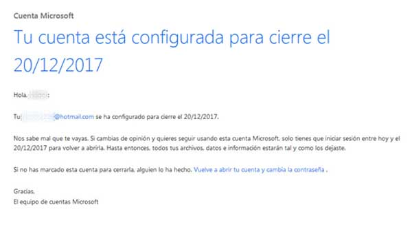 Correo Hotmail eliminado