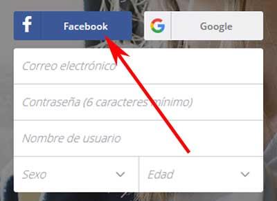 Registrarse en Deezer con Facebook
