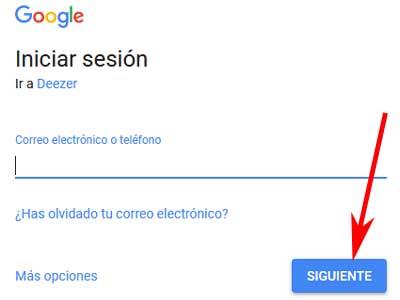 Registrarse con Google en Deezer