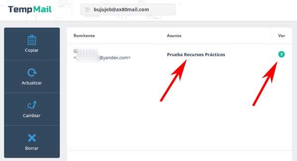 Crear una cuenta de correo en Temp Mail gratis.