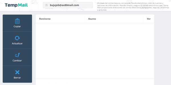 Crear una cuenta de correo gratis en Temp Mail