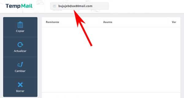 Crear correo electrónico Temp Mail