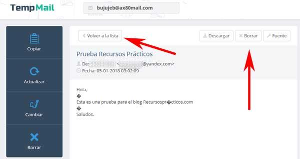Crear una cuenta de correo en Temp Mail gratis