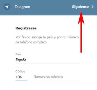 Telegram versión web