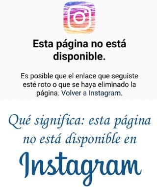 Página no encontrada en Instagram