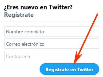 Crear cuenta en Twitter
