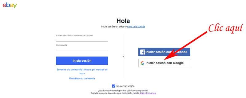 enter eBay with google