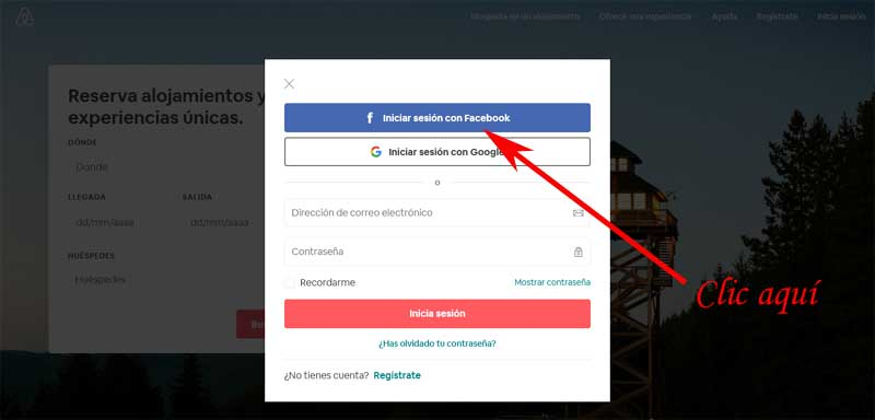 enter airbnb with facebook