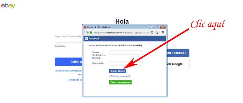 enter eBay with facebook