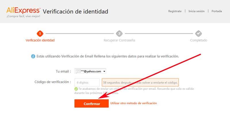 how to reset an aliexpress account